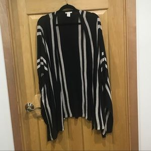 H&M striped Open front short sleeve cardigan